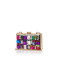 Black gem stone embellished box clutch bag