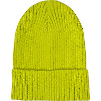 Lime ribbed knit turn up beanie hat