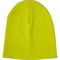 Lime ribbed knit beanie hat