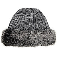 Grey faux fur trim beanie hat