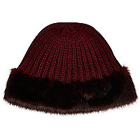 Dark red faux fur trim beanie hat