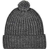 Dark grey pom pom beanie hat