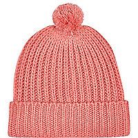 Coral pom pom beanie hat