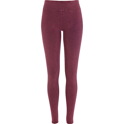 Dark red high waisted acid wash leggings