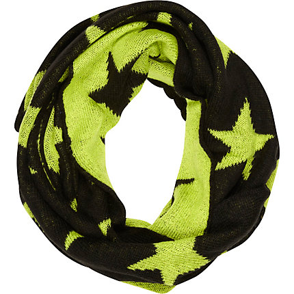 Black neon star knit snood