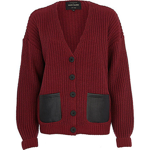 Red chunky knit leather-look pocket cardigan