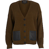 Dark green leather-look pocket cardigan