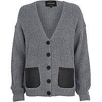 Grey chunky knit leather-look pocket cardigan