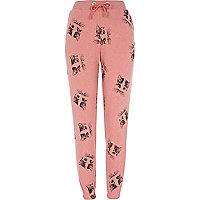 Pink cat print pyjama bottoms