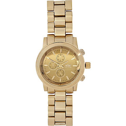 Gold tone metal bracelet watch