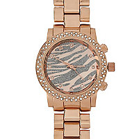 Rose gold diamante encrusted zebra face watch