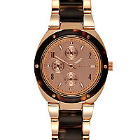 Rose gold tone classic round bracelet watch