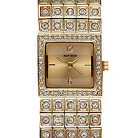 Gold tone diamante encrusted square watch