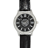 Black leather strap diamante encrusted watch