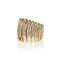 Gold tone repeated leaf ring