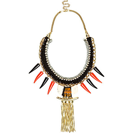 Orange tusk chain tassel statement necklace