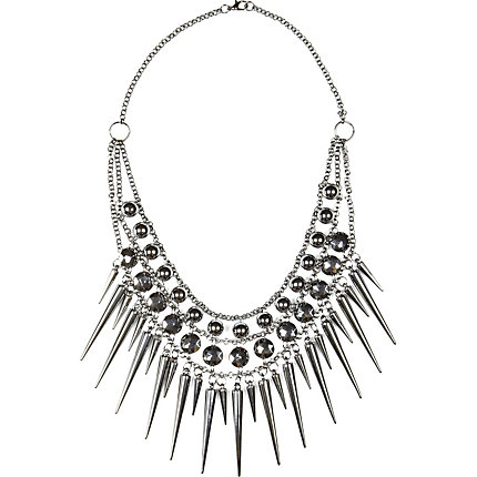 Grey metal spike statement necklace