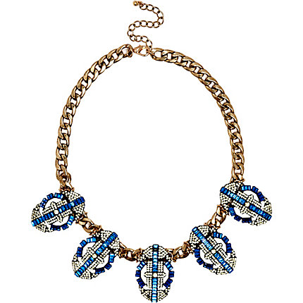 Blue deco repeat short necklace