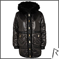 Black Rihanna high shine parka jacket