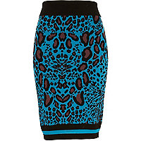 Blue graphic leopard print knitted skirt