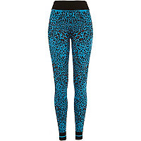 Blue graphic leopard print knitted leggings