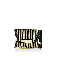 Black stripe envelope clutch bag