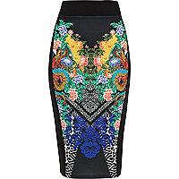 Black oriental print pencil skirt