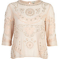 Light pink embellished 3/4 sleeve top