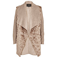 Beige shearling panel waterfall jacket