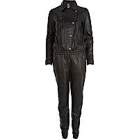 Black Eudon Choi leather jumpsuit