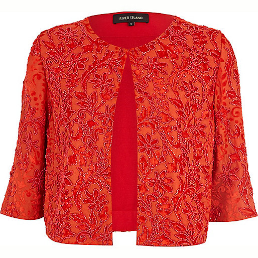 Orange beaded cropped jacket