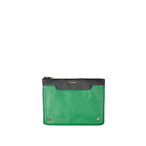 Green pocket front iPad case