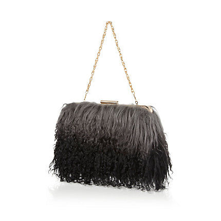 Grey ombre Mongolian fur clutch bag