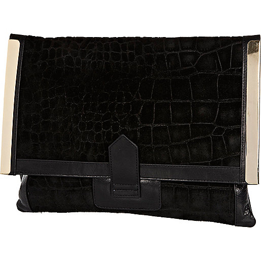 Black leather metal plate envelope clutch bag