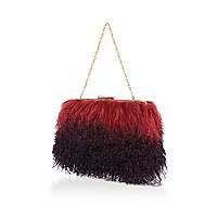 Red ombre Mongolian fur clutch bag