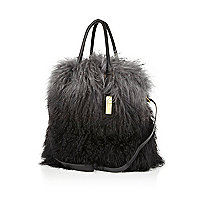 Grey ombre Mongolian fur tote bag