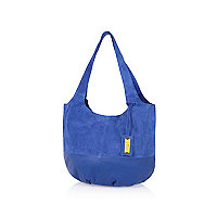 Blue leather and suede mix slouch bag