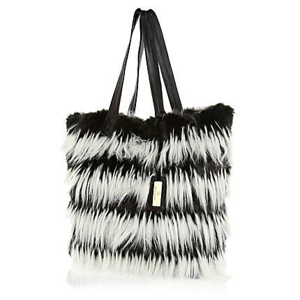 Black and white stripe faux fur tote bag