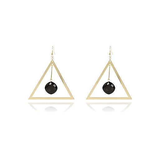 Gold tone oversized triangle drop earrings