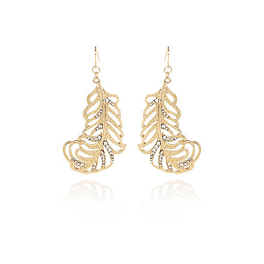 Gold tone encrusted leaf earrings