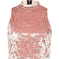 Light pink velvet turtle neck crop top