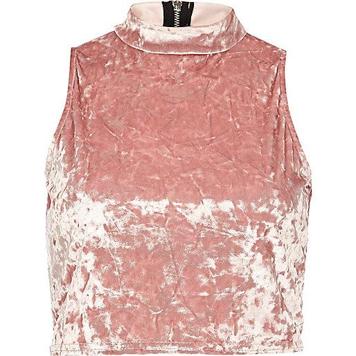 Light pink velvet turtle neck crop top