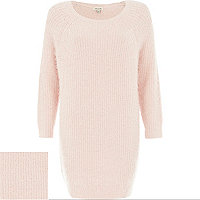 Pink fluffy knitted dress