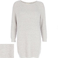 Grey fluffy jumper dress