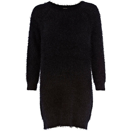 Black fluffy jumper dress