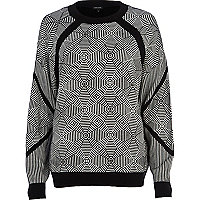 Black geometric panel necklace jumper
