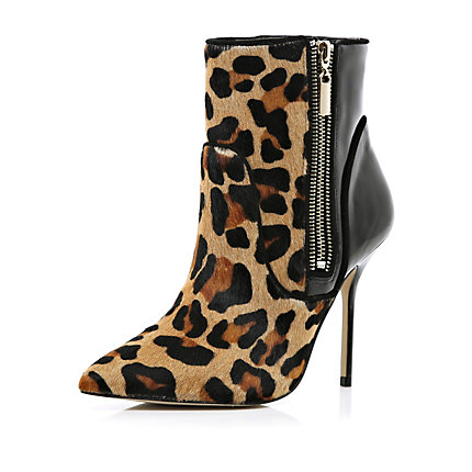 Brown leopard print zip stiletto boots