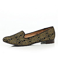 Beige lace slipper shoes