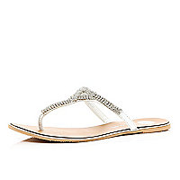 Silver diamante embellished thong sandals
