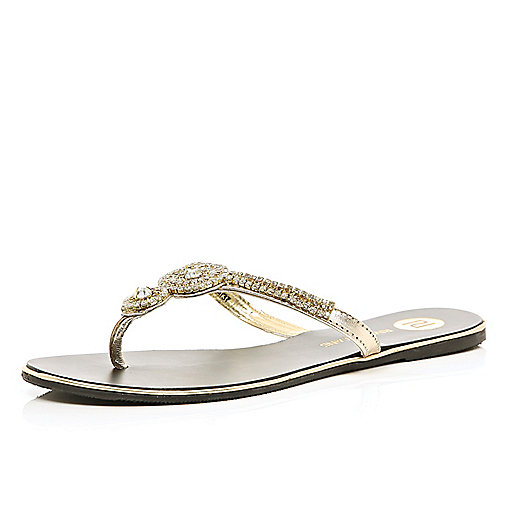 Gold diamante embellished thong sandals